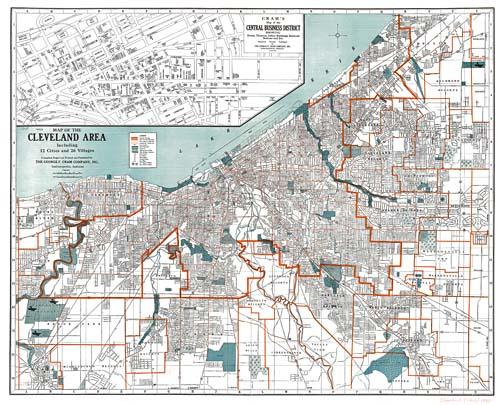 Cram\'s 1945 Cleveland Map