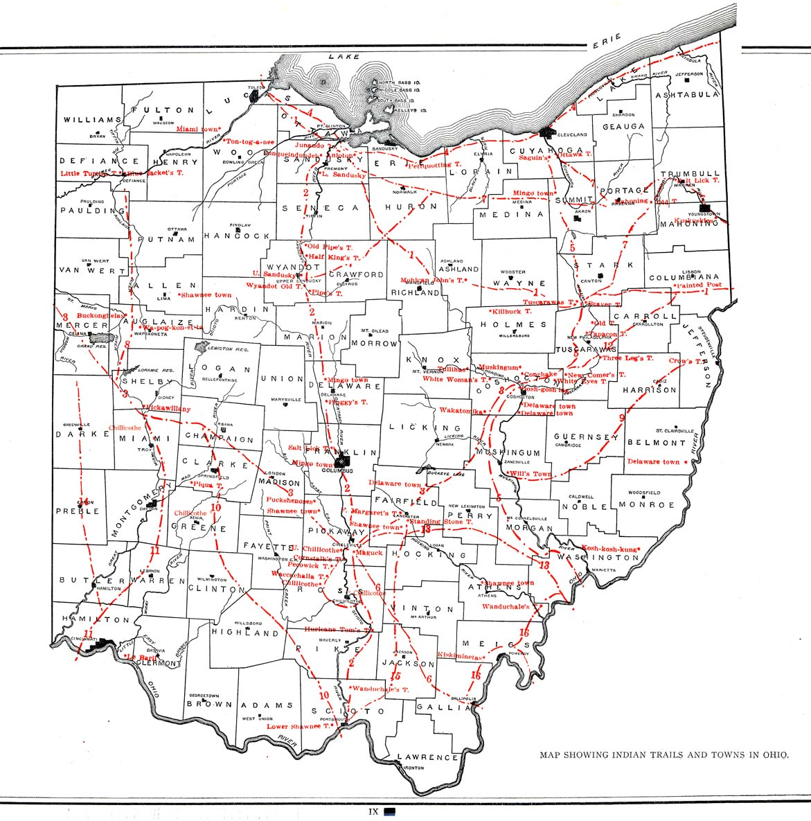 Indian Trails and Towns in Ohio on