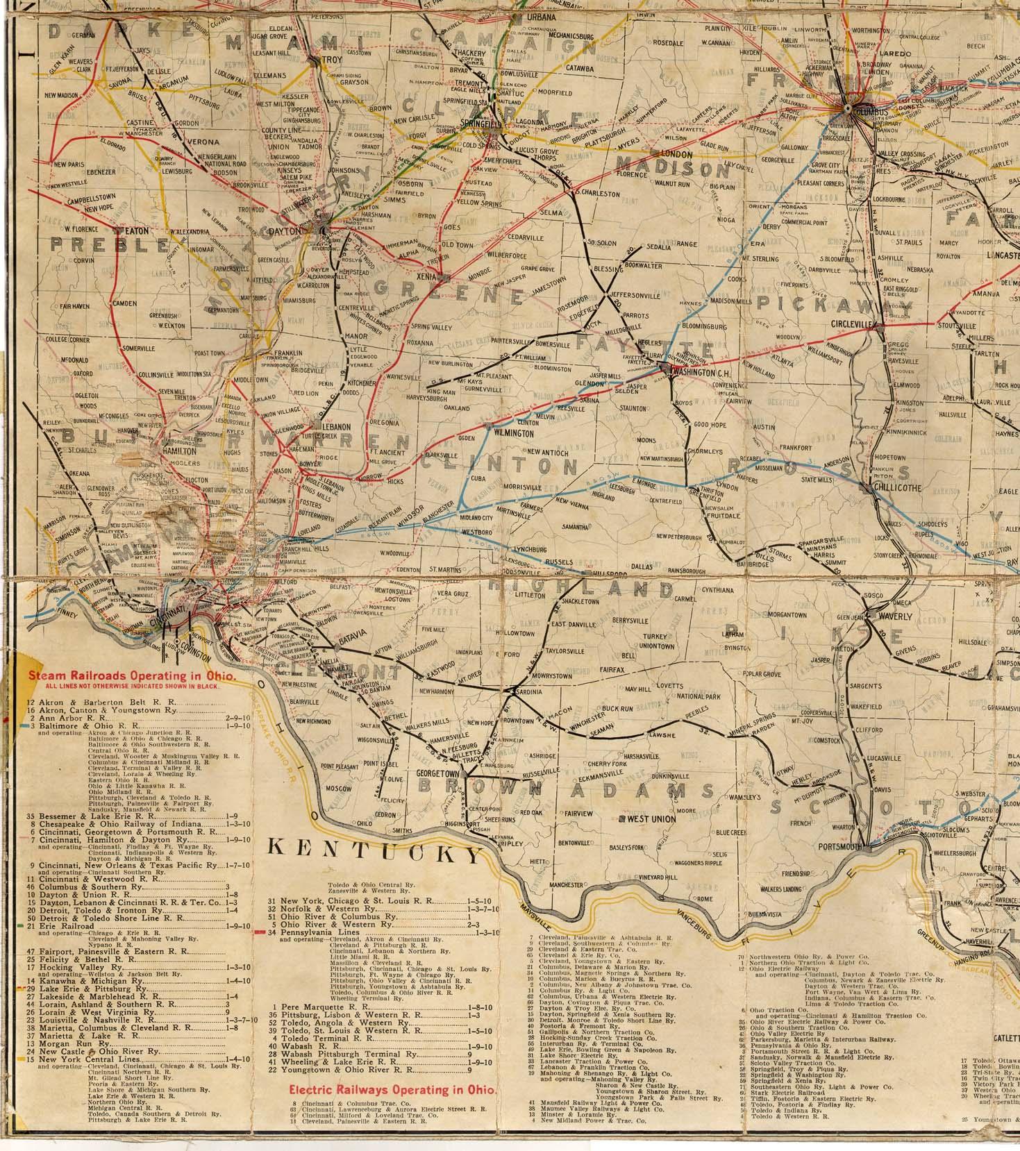 1914 Railroad Map of Ohio